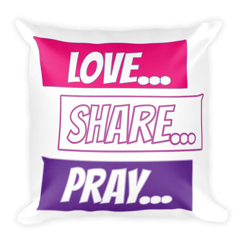 Love Share Pray Chat Pillow,  - Peachy Brass