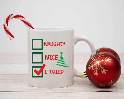 Naughty, Nice, I Tried Mug, Mugs - Peachy Brass