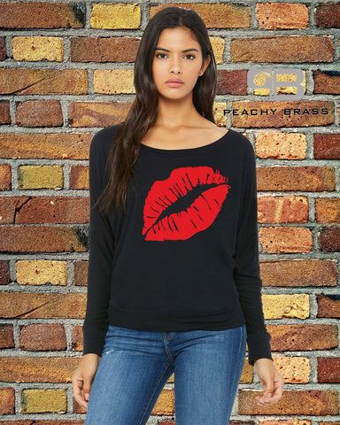 Sexy Lips Off The Shoulder Shirt