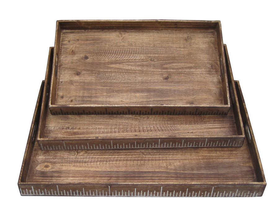 Brown Wood Tray Set