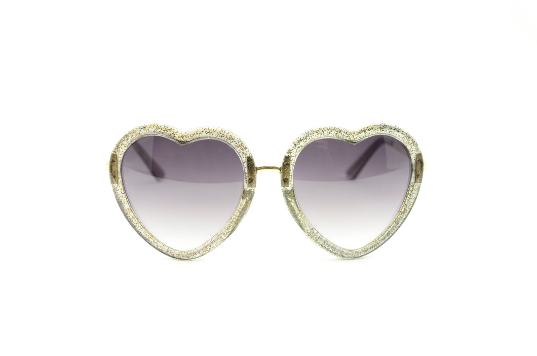 Glitter Framed Heart Shaped Sunglasses-BLACK