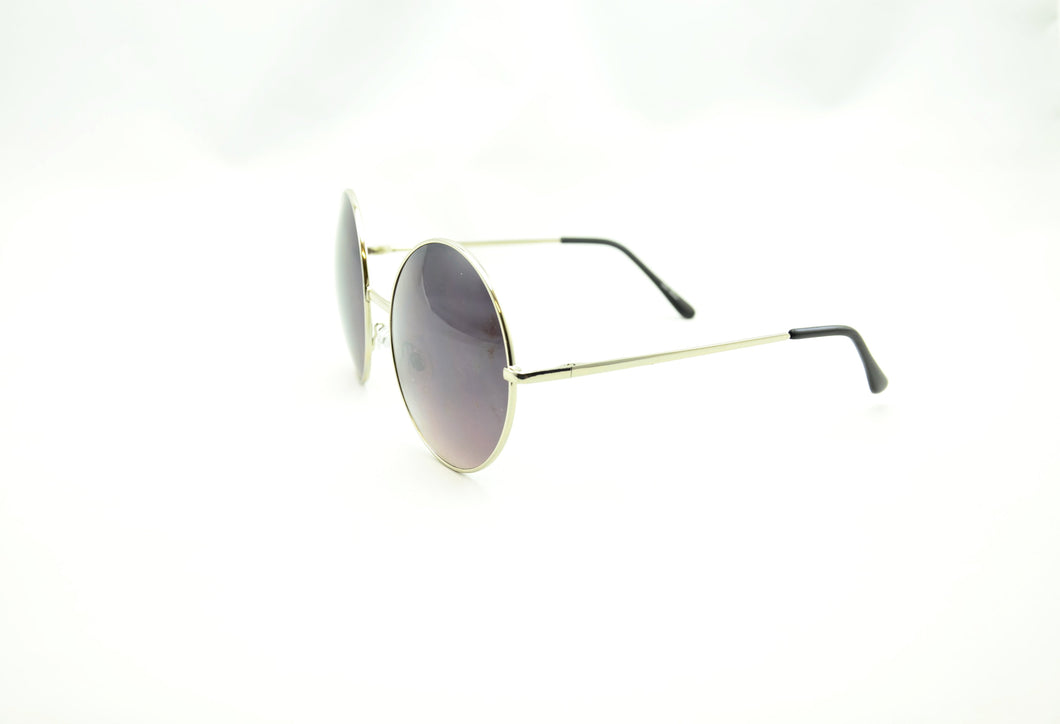 Oversized Vintage Round Sunglasses - BLACK