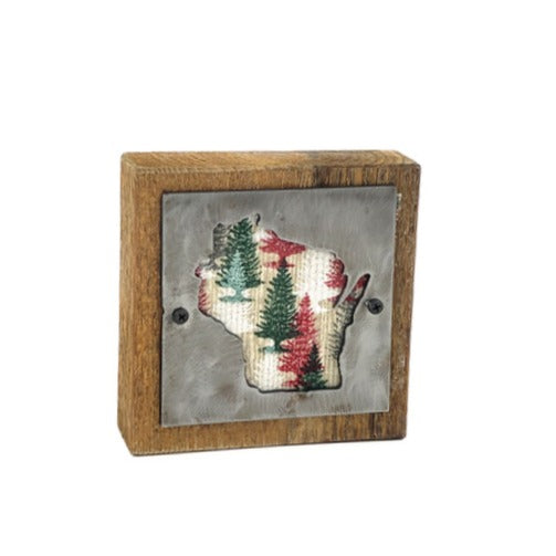 Wisconsin Holiday Trees Rustic Wood & Metal Small Home Decor Sign