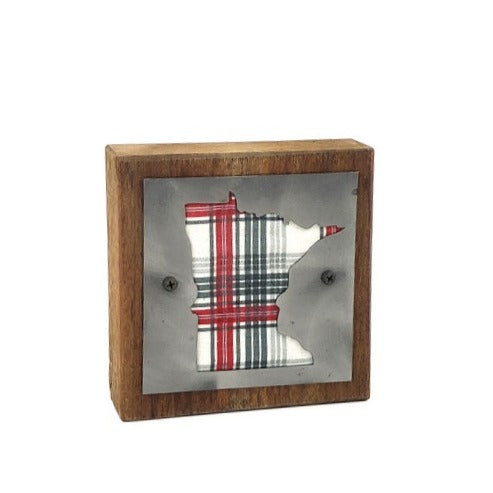 Minnesota Holiday Plaid Rustic Wood & Metal Small Home Decor Sign