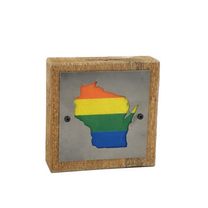 Wisconsin Pride Rustic Wood & Metal Small Home Decor Sign
