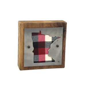 Minnesota Red, Black, Grey & White Plaid Rustic Wood & Metal Small Home Decor Sign
