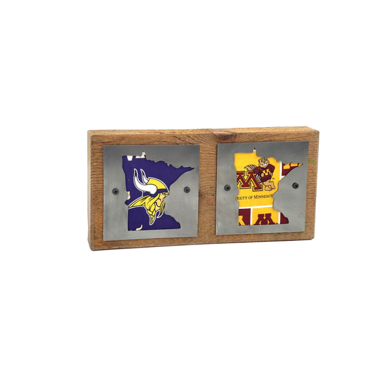 Minnesota Vikings/Gophers Double Rustic Wood & Metal Home Decor Sign