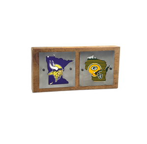 Minnesota Vikings/Green Bay Packers Double Rustic Wood & Metal Home Decor Sign