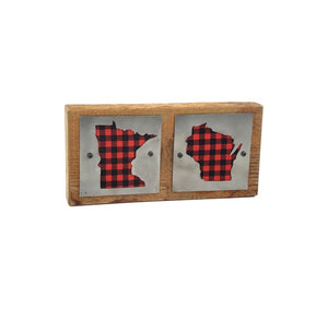 Minnesota/Wisconsin Red Buffalo Plaid Double Rustic Wood & Metal Home Decor Sign
