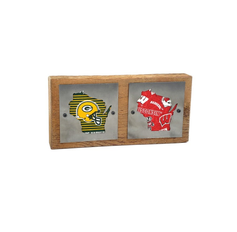 Green Bay Packers/Wisconsin Badgers Double Rustic Wood & Metal Home Decor Sign
