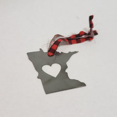 Minnesota Red Plaid Rustic Metal Heart Ornament
