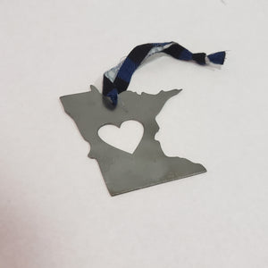 Minnesota Blue Plaid Rustic Metal Heart Ornament