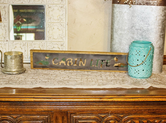 Cabin Life Rustic Large Sign - Metal on Wood - Camo - Northwoods Collection