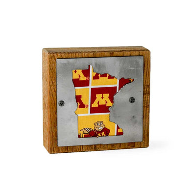 Minnesota Golden Gophers Rustic Wood & Metal Small Home Decor Sign