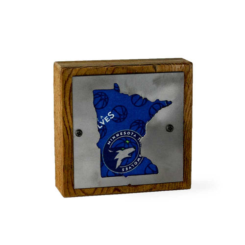 Minnesota Timberwolves Rustic Small Sign - Metal on Wood - Fan Series
