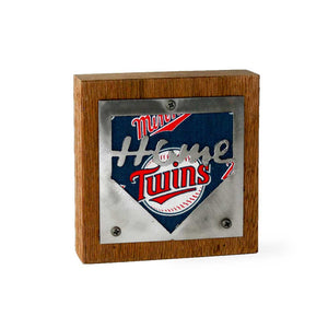 "Minnesota Twins ""Home Plate"" Rustic Small Sign - Metal on Wood - Fan Series"