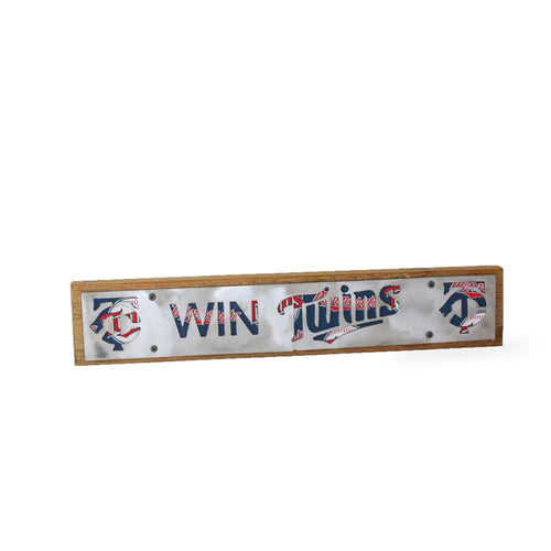 Minnesota Twins Win Twins Rustic Large Sign - Metal on Wood - Fan Series