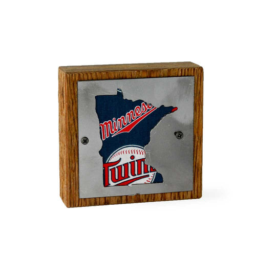 Minnesota Twins Rustic Small Sign - Metal on Wood - Fan Series
