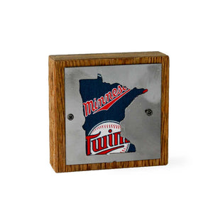 Minnesota Twins Rustic Wood & Metal Small Home Decor Sign