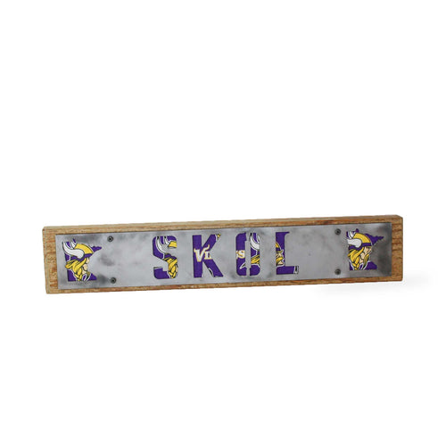 Minnesota Vikings Skol Rustic Large Sign - Metal on Wood - Fan Series