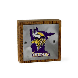 Minnesota Vikings Rustic Small Sign - Metal on Wood - Fan Series
