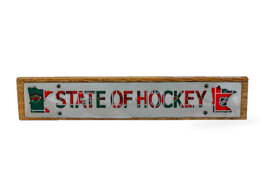 Minnesota Wild State of Hockey Rustic Large Sign - Metal on Wood - Fan Series