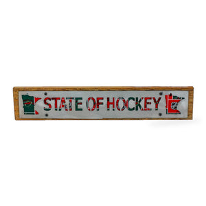 "Minnesota Wild ""State of Hockey"" Rustic Wood & Metal Large Home Decor Sign"