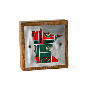 Minnesota Wild Rustic Small Sign - Metal on Wood - Fan Series