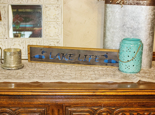 Lake Life Rustic Large Sign - Metal on Wood - Blue Buffalo - Northwoods Collection