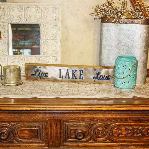 Live Lake Love Rustic Large Sign - Metal on Wood - Blue Buffalo - Northwoods Collection