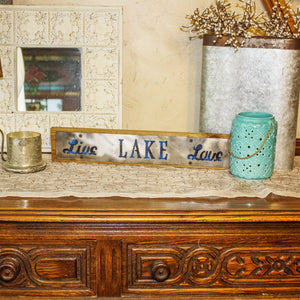 """Live Lake Love"" Blue Buffalo Plaid Rustic Wood & Metal Large Home Decor Sign"