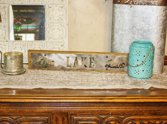 Live Lake Love Rustic Large Sign - Metal on Wood - Camo - Northwoods Collection