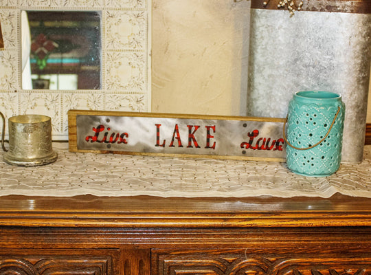 Live Lake Love Rustic Large Sign - Metal on Wood - Red Buffalo - Northwoods Collection