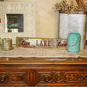 """Live Lake Love"" Red Buffalo Plaid Rustic Wood & Metal Large Home Decor Sign"