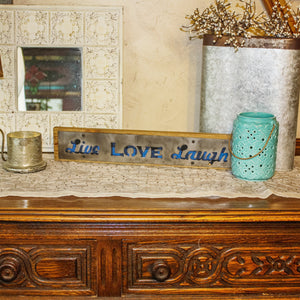 """Live Love Laugh"" Blue Buffalo Plaid Rustic Wood & Metal Large Home Decor Sign"
