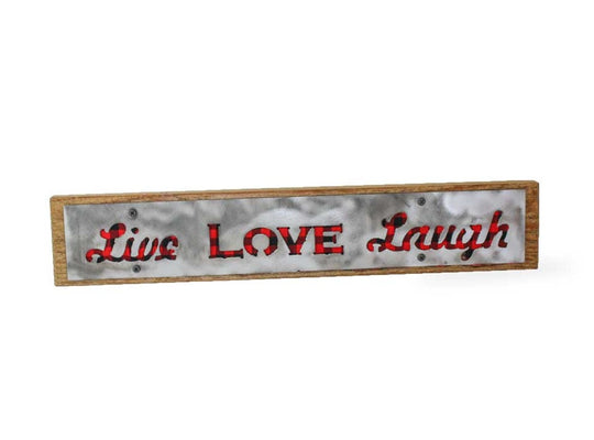 Live Love Laugh Rustic Large Sign - Metal on Wood - Red Buffalo - Northwoods Collection