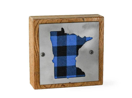 Minnesota Rustic Small Sign - Metal on Wood - Blue Buffalo - Northwoods Collection