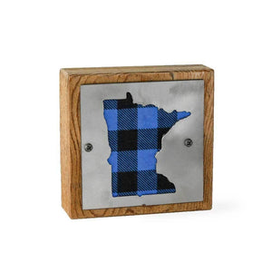 Minnesota Blue Buffalo Plaid Rustic Wood & Metal Small Home Decor Sign