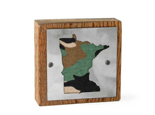 Minnesota Rustic Small Sign - Metal on Wood - Camo - Northwoods Collection