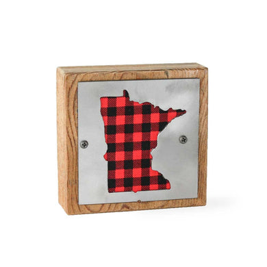 Minnesota Red Buffalo Plaid Rustic Wood & Metal Small Home Decor Sign