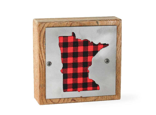 Minnesota Rustic Small Sign - Metal on Wood - Red Buffalo - Northwoods Collection