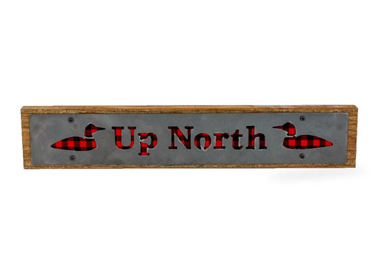 Up North Rustic Large Sign - Metal on Wood - Red Buffalo - Northwoods Collection