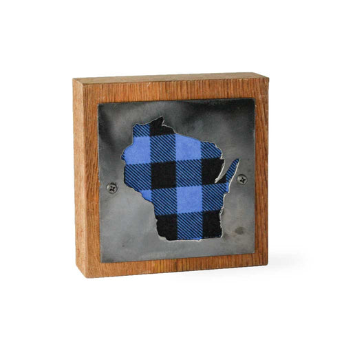 Wisconsin Blue Buffalo Plaid Rustic Wood & Metal Small Home Decor Sign