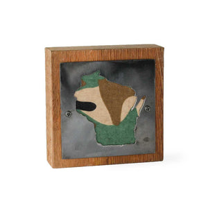 Wisconsin Rustic Small Sign - Metal on Wood - Camo - Northwoods Collection
