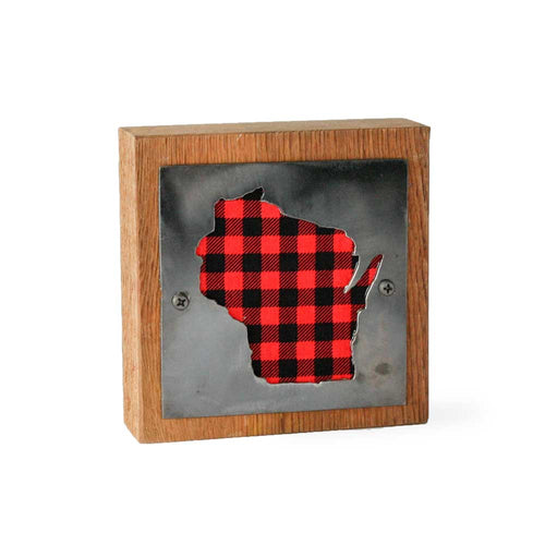 Wisconsin Red Buffalo Plaid Rustic Wood & Metal Small Home Decor Sign