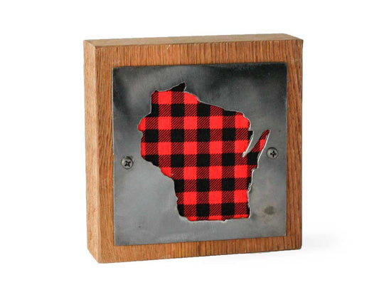 Wisconsin Rustic Small Sign - Metal on Wood - Red Buffalo - Northwoods Collection