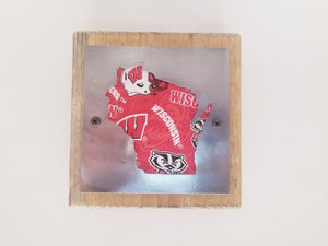 Wisconsin Badgers Rustic Wood & Metal Small Home Decor Sign