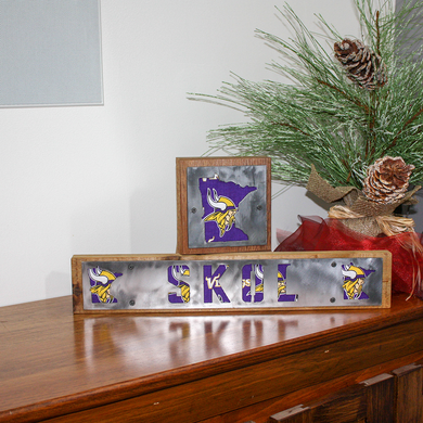 Minnesota Vikings Rustic Wood & Metal Home Decor Sign Fan Pack
