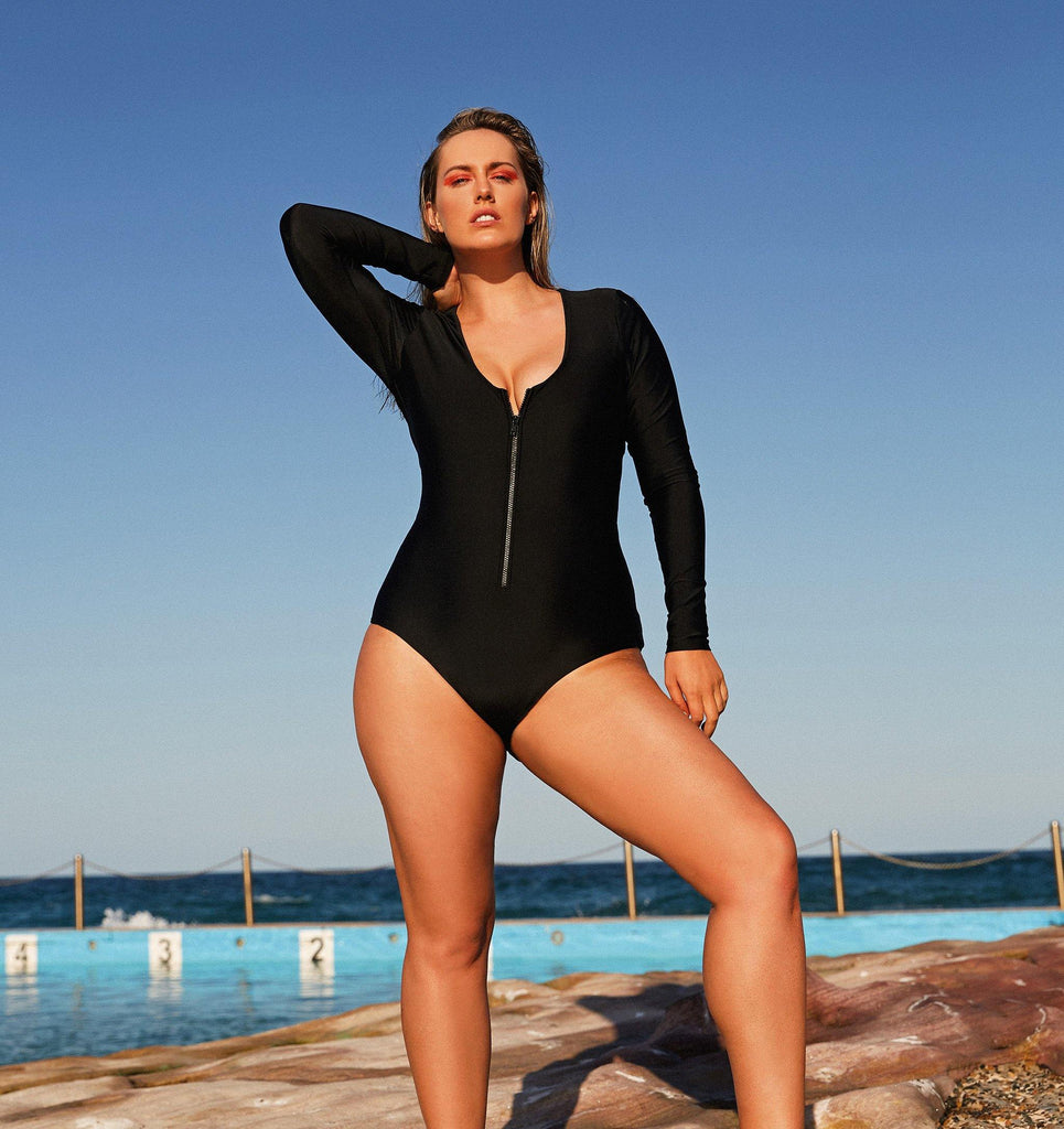 Plus size long sleeve swimsuit with zip front