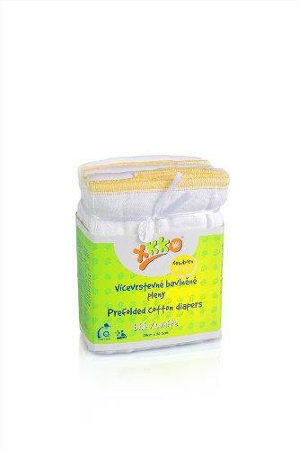 XKKO Prefolded Diapers Newborn (6 Pieces, White)